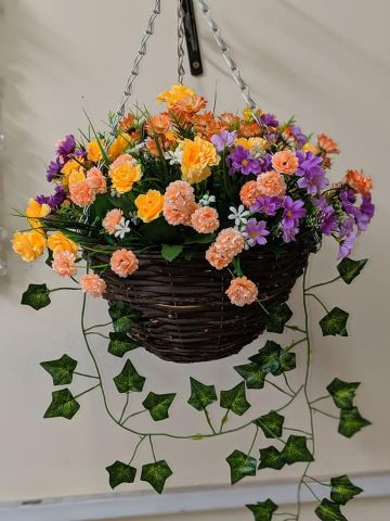 "Summer 2019 Artificial Hanging Basket 12"" with 14"" Flower Spread - Purple, Yellow & Coral"
